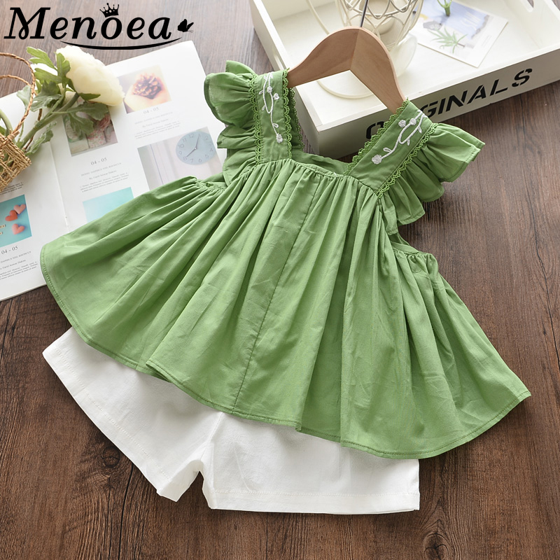 Menoea Children Summer Clothes Sets 2020 New Style Kids Embroidery Clothing Girls Sleeveless Clothes Suits Baby Suits