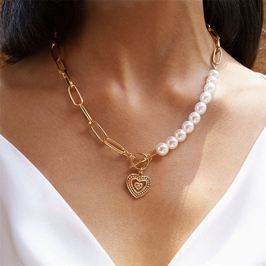 IngeSight.Z Punk Imitation Pearl Choker Necklace Collar Statement Golden Love Heart Lasso Pendant Necklaces for Women Jewelry 5