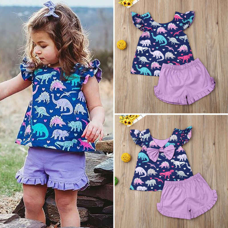 Zomer Peuter Baby Meisje Kleding Dinosaurus Boog Tops Shorts Outfit Sunsuit