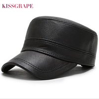 Man's genuine sheep leather baseball cap for winter autumn male casual real sheepskin hat with ear protection adjustable size