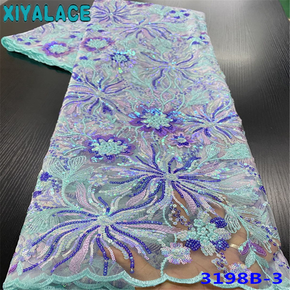 XIYA Lace French Tulle Lace Fabric African Net Laces High Quality Sequins Lace Fabrics For Wedding Party Dresses KS3198B