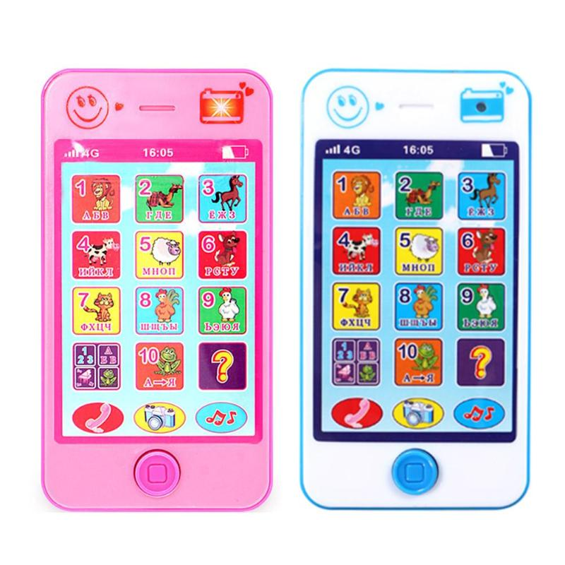 Russian Language Baby Toy Phone Simulation Mobile Kids Musical Instrument Touch Screen Phone Toys Educational Learning Toys