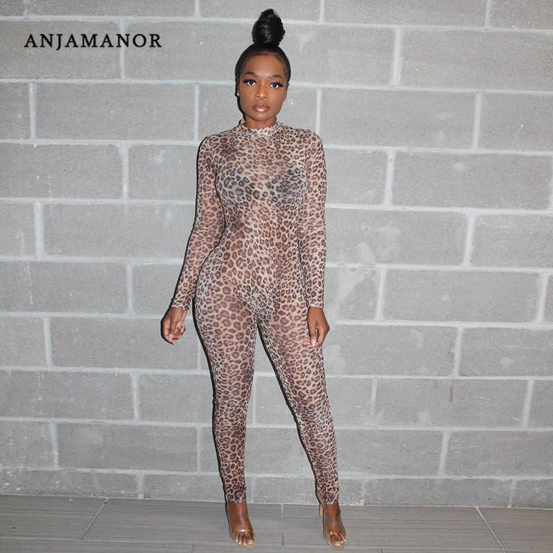 ANJAMANOR Animal Print Mesh Jumpsuit Women Long Sleeve Bodycon Plus Size Rompers Snake Skin Cheetah Club Sexy Costumes D37-AC26