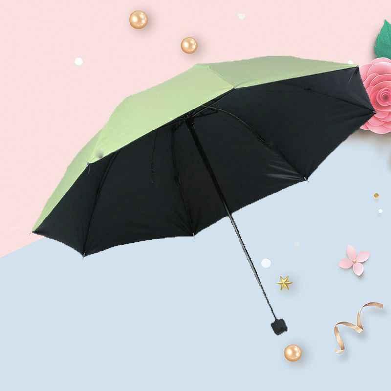 Виниловый солнцезащитный складной мини-зонтик с защитой от УФ-лучей от дождя или блеска двойного назначения тройной складной зонтик