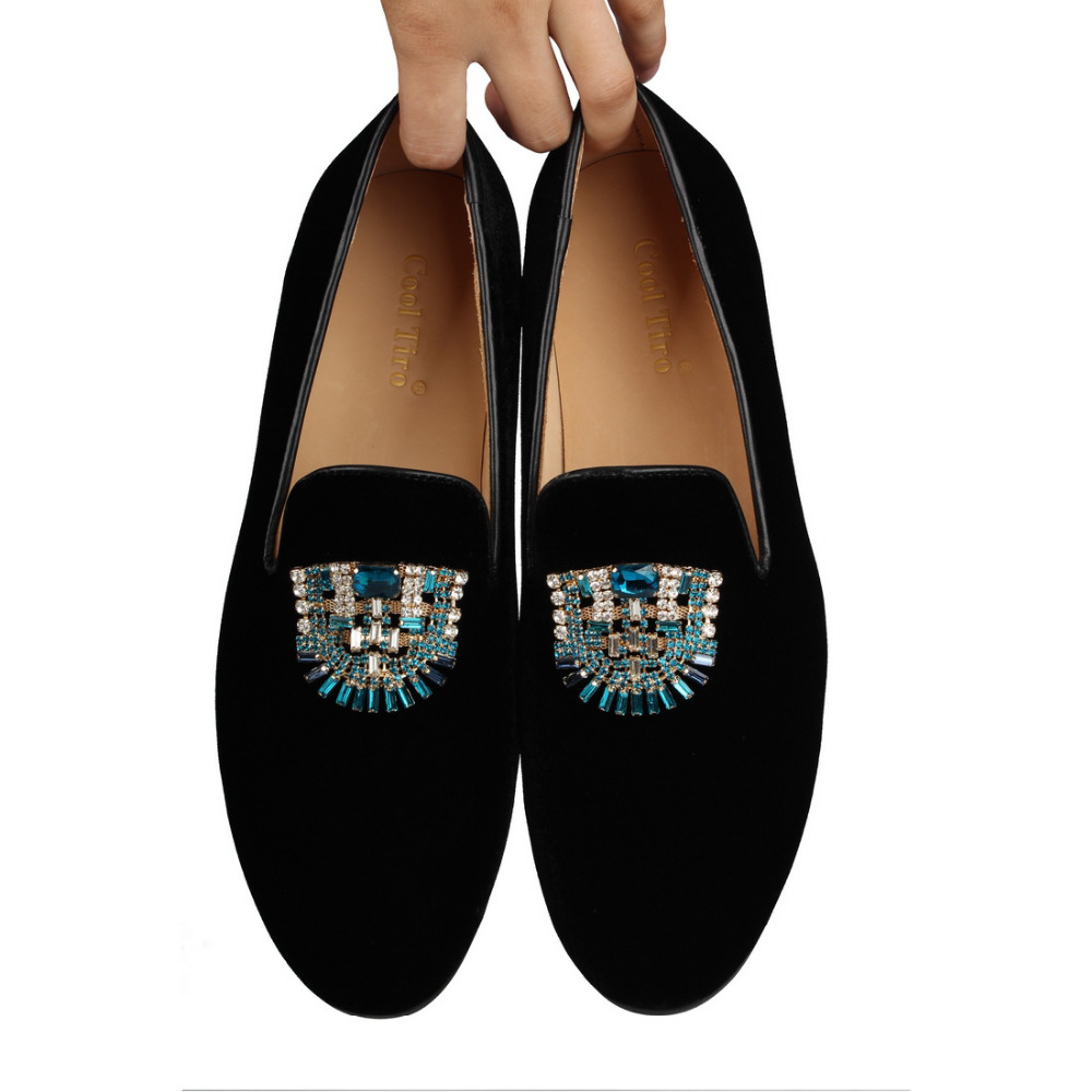 VELVET Loafers SLIPPERS with Crystal brooch (10)