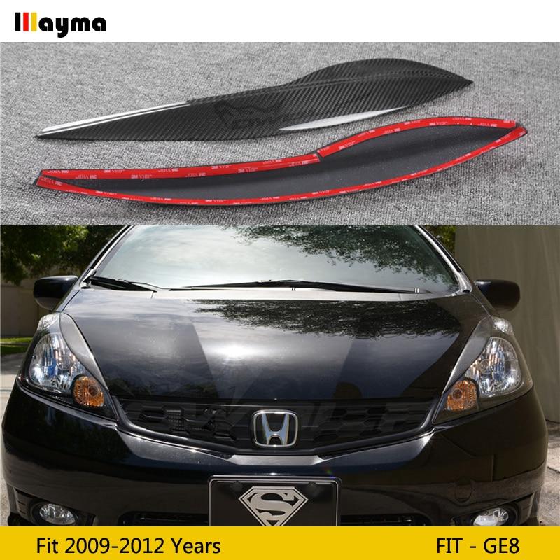 Декоративные Чехлы для фар из углеродного волокна, веко для Honda Fit 2009 - 2012 GE8, стекловолокно, FRP, Праймер, передняя лампа, наклейка для бровей