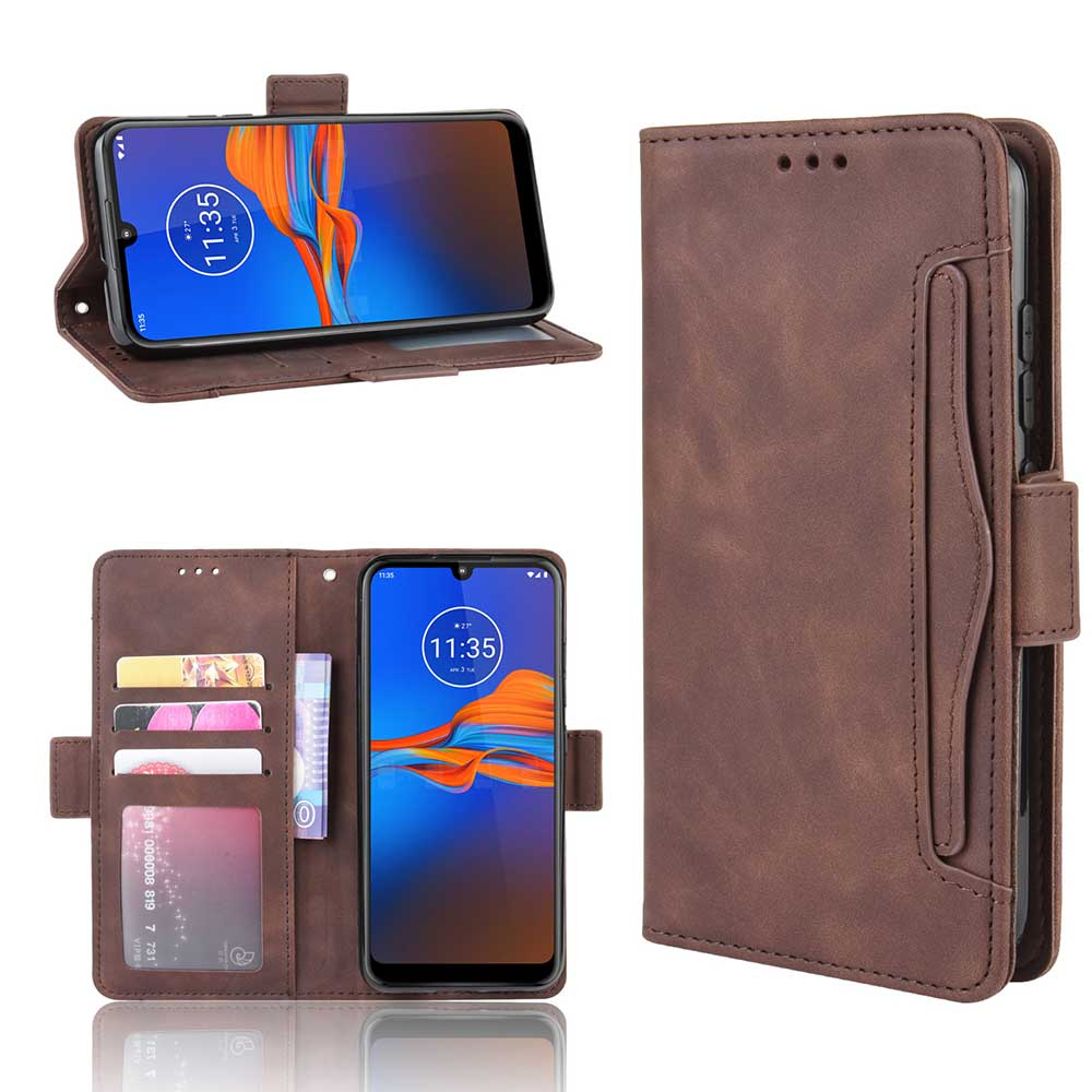 Leather phone <font><b>case</b></font> for <font><b>Motorola</b></font> moto One <font><b>Vision</b></font> / P50 E6 E6S E6plus One Zoom back Cover Flip card wallet with stand Retro Coque image