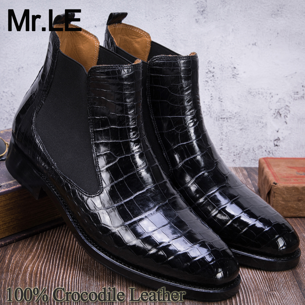 Crocodile Boots Men Dress 100% Genuine Leather Original Party Wedding Luxury Formal Men's Oxford Casual Alligator Chelsea Shoes
