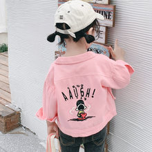 Girls Jacket 2019 New Autumn Spring Back Cartoon Printed Denim Coat Roupa Fashion Outwear Infantil Costumes Children's Clothing(China)