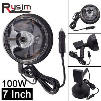 Lámpara de xenón de 7 pulgadas y 100W, foco de luz de Camping, caza, pesca, todoterreno, barra de luces led de trabajo de 12v y 24v