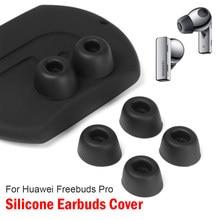 6pc anti-deslizamento silicone fones de ouvido capa fone de ouvido substituição earplug in-ear eartips manga protetora preta para huawei freebuds pro
