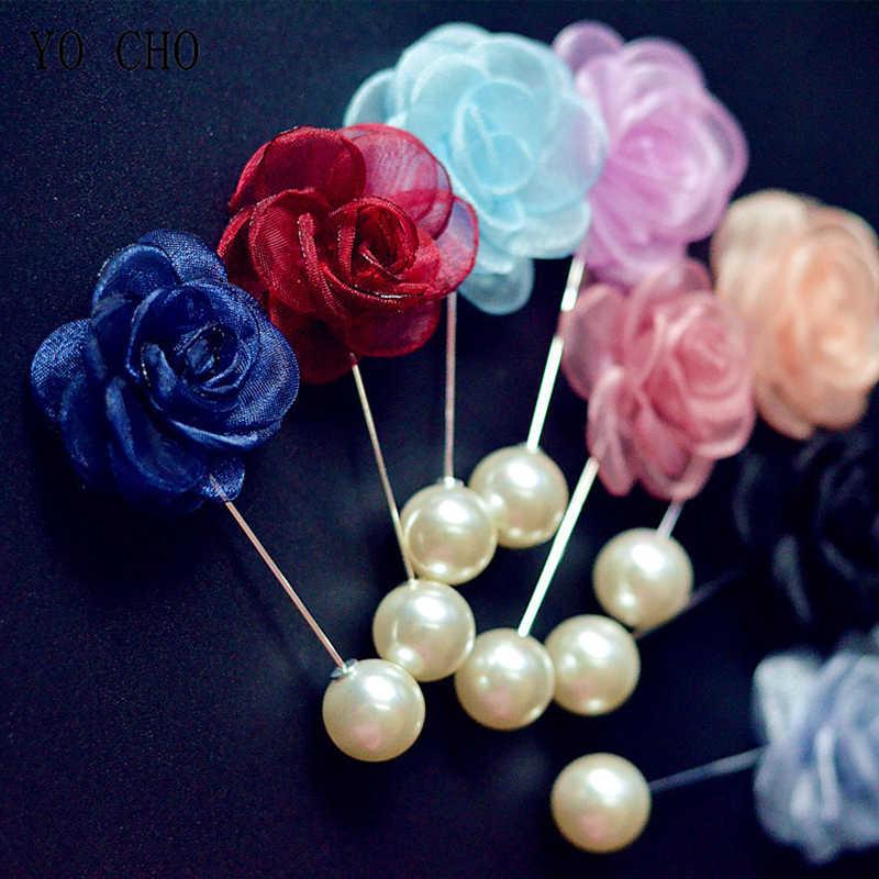 Yo Cho Boutonniere Sutra Buatan Rose Bunga Pernikahan Pengantin Pria Pertemuan Pesta Kancing Pribadi Korsase Dekorasi Pria Pin Lubang Kancing