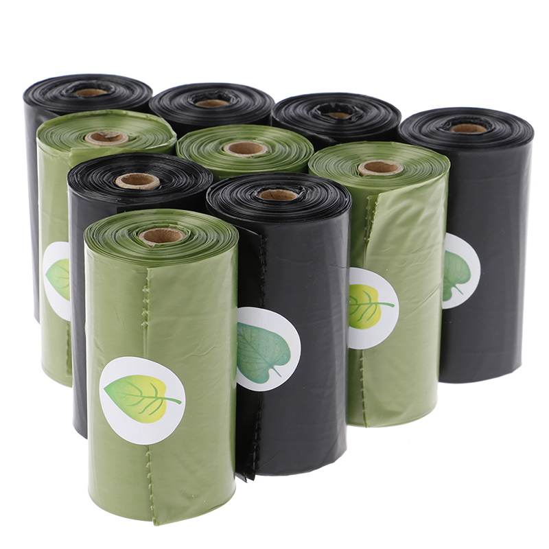 8 Rolls/120Pcs Green Environment Degradable Plastic Waste Bag Thicken Pet Dog Waste Bags Garbage Durable Cleaning Waste Bag