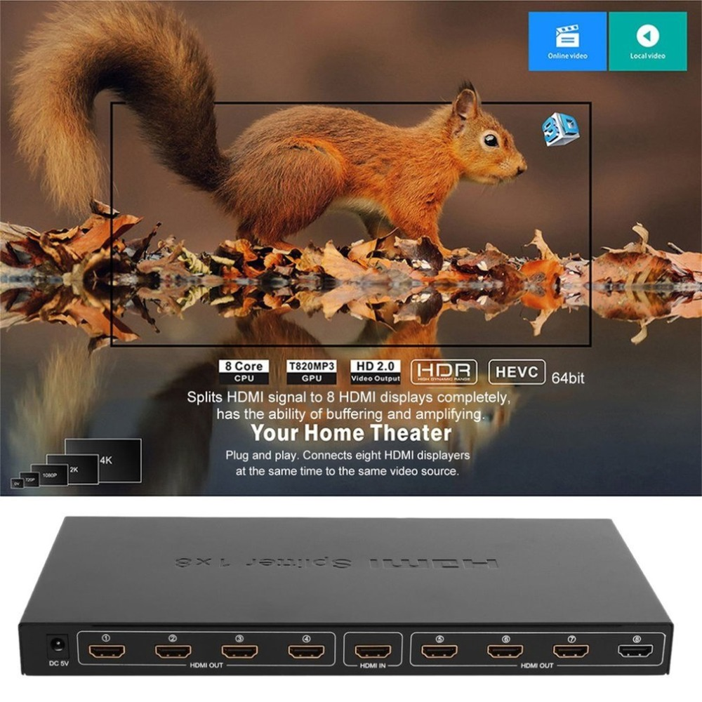 8 Port HDMI Video Splitter Audio Amplifier 3D Full HD 1080p 1 In to 8 Out HDMI Hub Box Switcher For HDTV Projector PC Monitor
