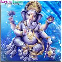Pintura de diamante 5D DIY de Ganesha, Buda, bordado completo de diamantes de imitación, imágenes de elefante, Dios, íconos, juego de punto de cruz, decoración del hogar 20A042