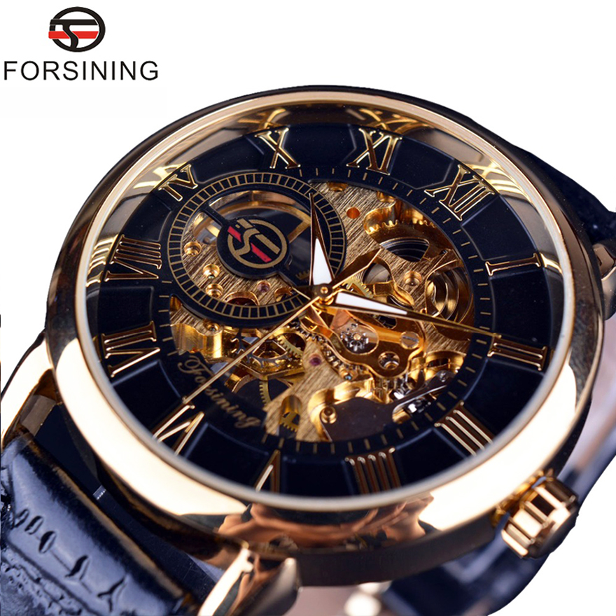 Image 2 - Forsining Men Watches Luxury Mechanical Skeleton Watch Black Golden 3D Literal Design Roman Number Black Dial Luminous ClockMechanical Watches   -