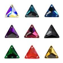 YANRUO 3270 trójkąt DIY kryształki do przyszywania Strass szyć na kamienie paciorki szklane kryształ górski płaski z tyłu szyte na odzież