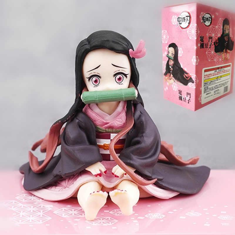أنيمي الشكل شيطان القاتل كيميتسو لا يابا كامادو Nezuko الجلوس موقف عمل الشكل بك تحصيل نموذج اللعب الهدايا 6.5 سنتيمتر