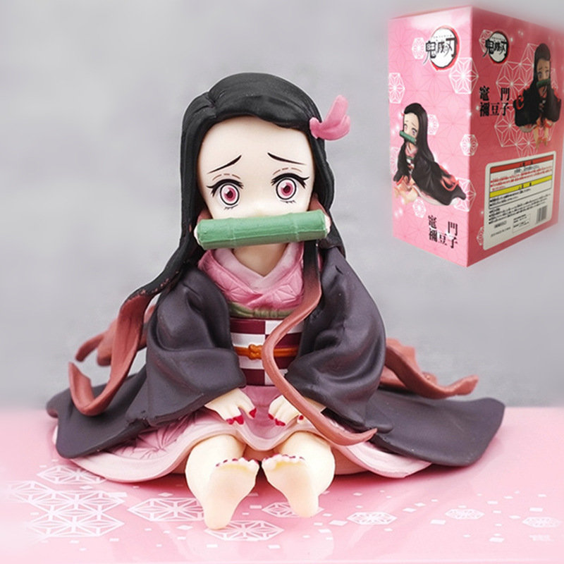 Anime Figure Demon Slayer Kimetsu No Yaiba Kamado Nezuko Sitting Position Action Figure PVC Collectible Model Toys Gifts 6.5CM