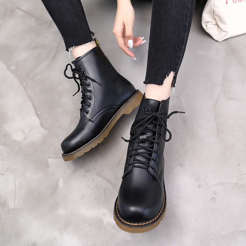 Autumn New Style Flat Heel England Handsome Martin Boots Women's Rubber Sole Short Motorcycle Boots Anti-slip Lace-up Women's Bo