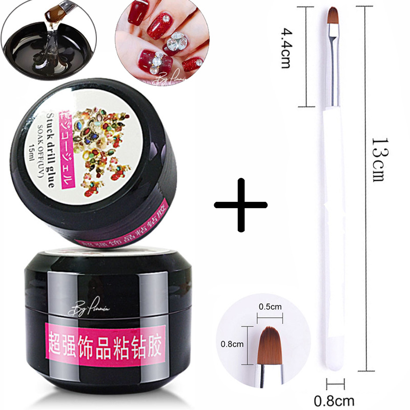 Nail Art Brush Rhinestone Gel Glue Super Sticky Adhesive UV Gel Nail Polish Glue For Nail Art Crystal Gems Jewelry Decoration