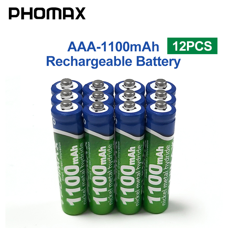 PHOMAX 1100mAh AAA Remote Control Radio Rechargeable Battery 12pcs/lot Battery 1.2V Calculator Electronic Toy Mouse NiMH Batteri