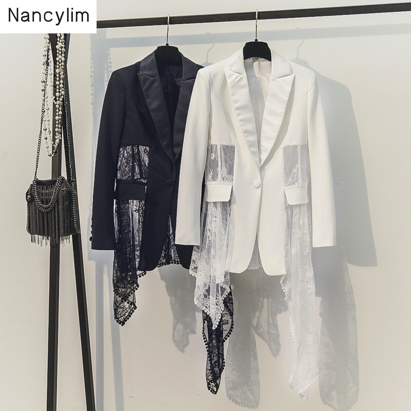 2019 New Spring Autumn Korean Slim Suit Stitching Mesh Lace Irregular Coat Temperament Lady Blazer Women White Blazers Coats