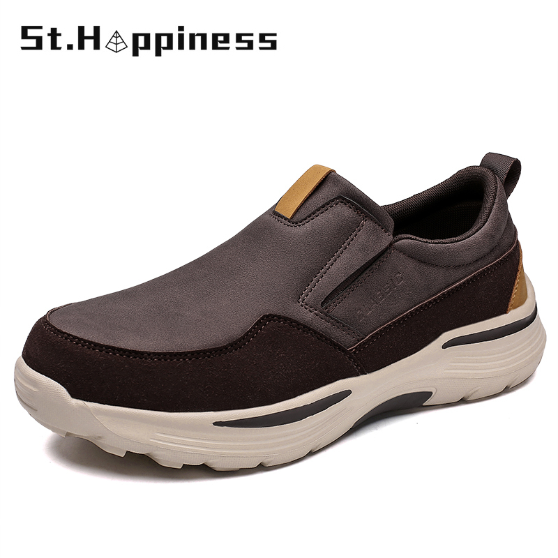 2021 New Men's Leather Casual Shoes Slip-On Clunky Sneaker For Men Fashion Thick-Soled Dad Shoes Platform Sneakers Big Size 48