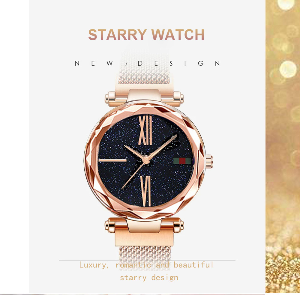 Luxury Minimalism Starry sky Magnet Rose Gold Women Watches 8
