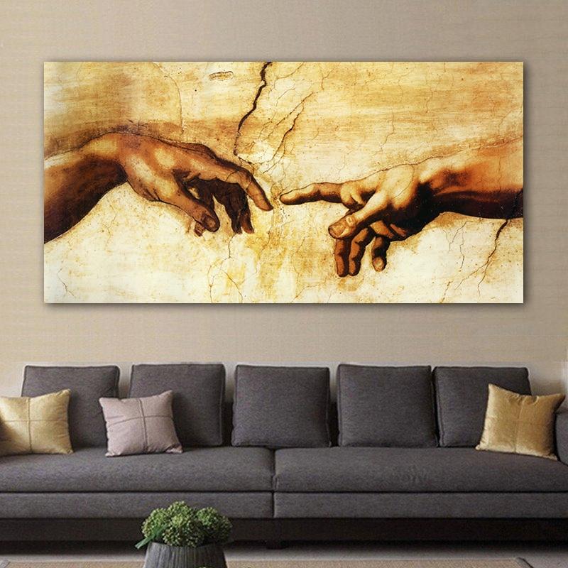 Creation D Adam Main De Dieu Religion Toile Peinture Peinture Celebre Copie De Michel Ange Sixtine Chapelle Fresques Art Mural Aliexpress
