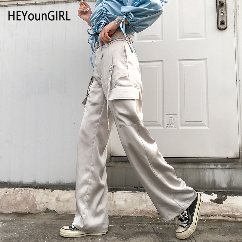 HEYounGIRL Satin High Waist   Pants     Capris   Casual Loose White Trousers Women Street Wear Elegant Sweatpants with Strips Pocket