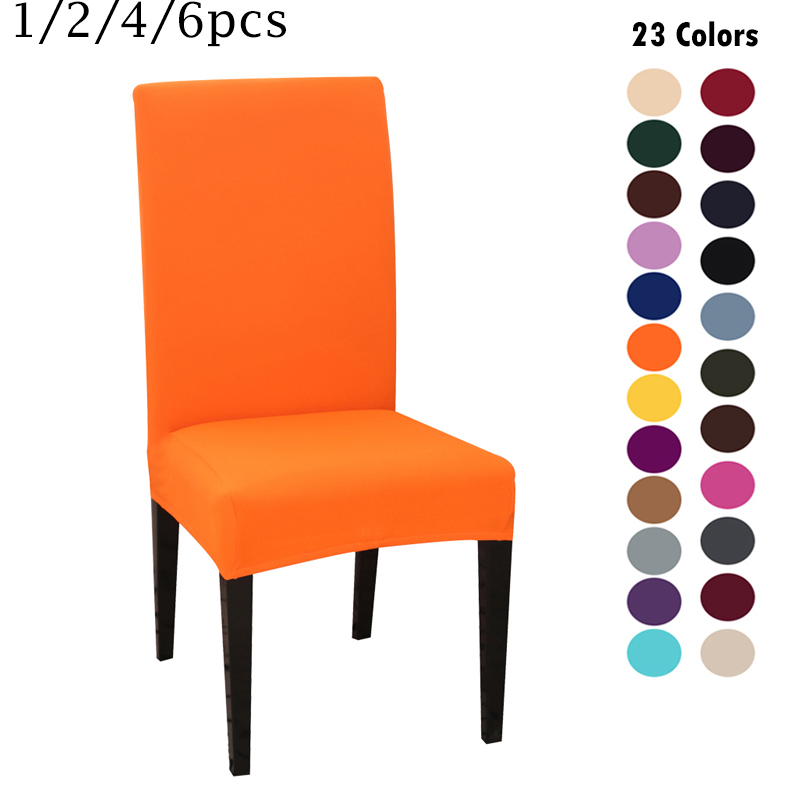 2020 New Chair Cover Solid Color Spandex Chair Covers Stretch Elastic Slipcovers For Wedding Kitchen Dining Room Banquet Hotel