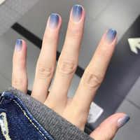 24pcs Girls Summer Holiday Gradient Blue Fake Nail Sweet Short Square Nail Art Tips with Glue Women Smooth Fake Nail press on
