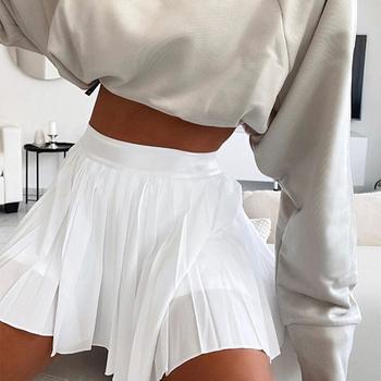 Damskie plisowane spódnice Mini spódnice letnie Casual solidne białe czarne krótkie spódnice damskie 2020 Fashion Girl słodkie koreańskie dno tanie i dobre opinie Chin Sweety Poliester CN (pochodzenie) Osób w wieku 18-35 lat A-LINE NONE WOMEN HFE5674 HFE5697 Women Pleated A-line Mini Skirts With Lining