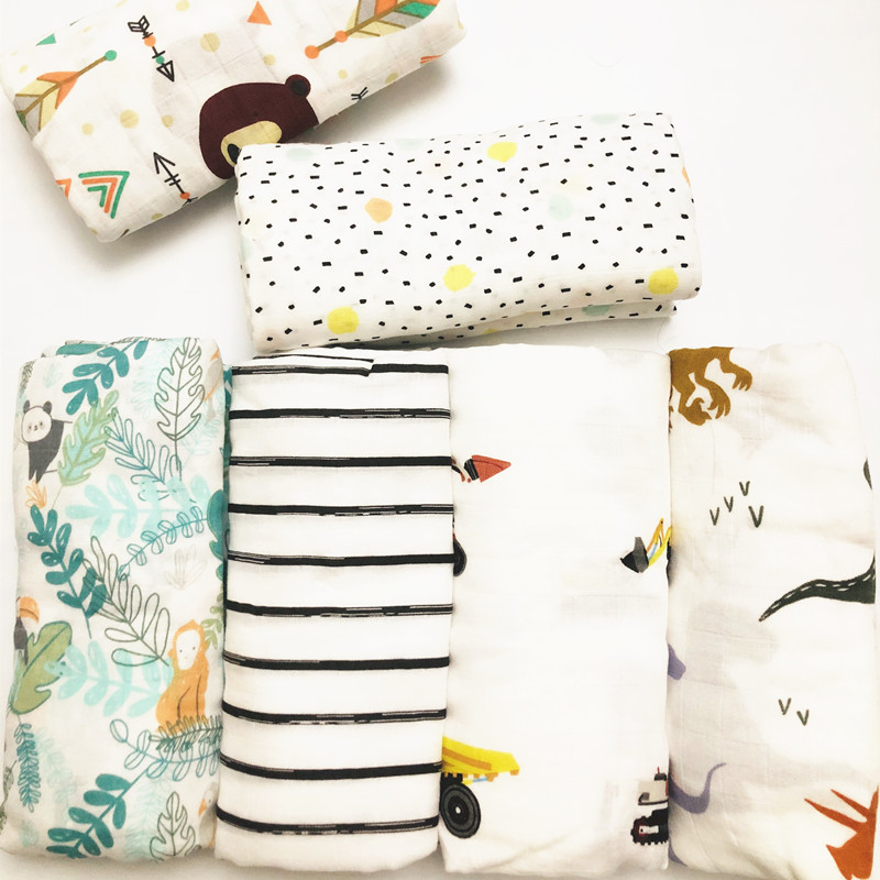 2020 Muslin Blankets Baby Muslin Blanket Swaddle Bamboo Cotton Newborn Baby Bath Towel Swaddle Blankets MultiFunctions Baby Wrap