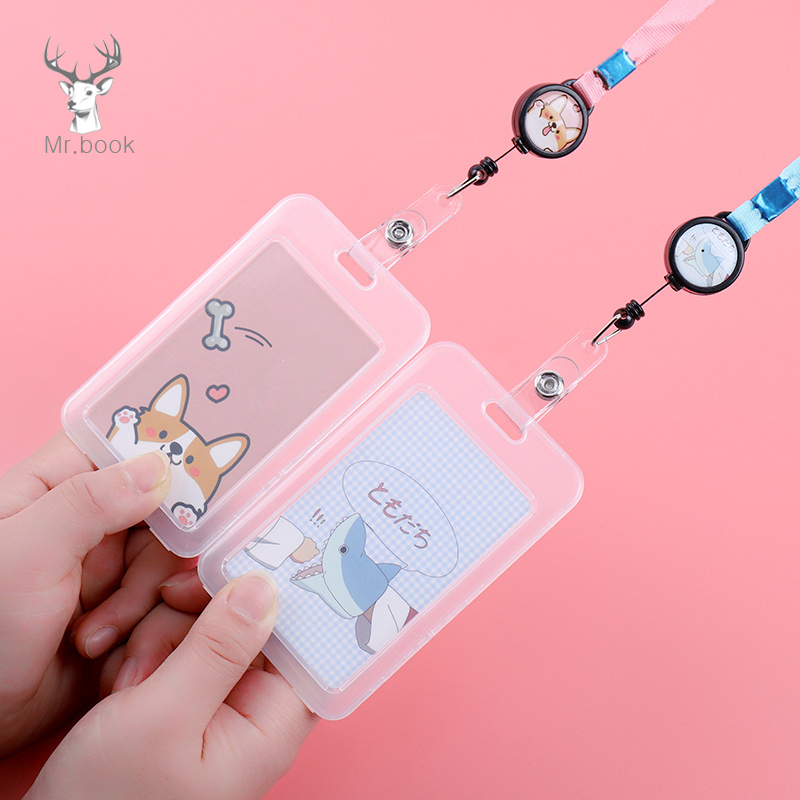 Cartoon Retractable Pull Badge Card Holder With Rope Nurse Doctor Exhibition Keys ID Name Card Badge Holder Kawaii Stationery