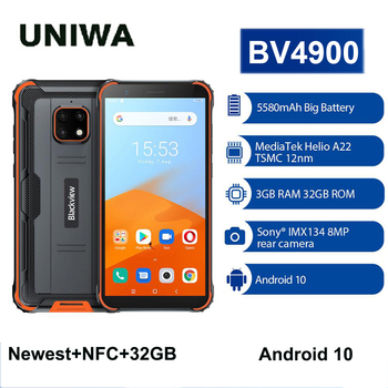 Blackview BV4900 NFC Android 10 Smartphone 3GB+32GB 5.7 inch Cellphone Rugged Waterproof  IP68 Mobile Phone 5580mAh gigaset me pro 3gb 32gb smartphone black