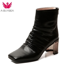 New Ankle Boots for Women Square Toe High Heels Women Shoes Warm Short Plush Ladies Winter Boots Zipper Female Western Boots women winter long boots knee high velvet soft warm short plush inside glitter square heels pearls ladies fashion boots shoes