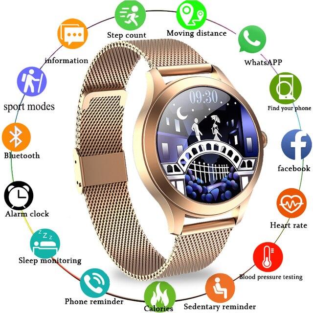LIGE Ladys Smart Watch Women luxury Smartwatch Full Touch Round Sreen Heart Rate Monitor Blood Pressure Oxygen Fitness Tracker