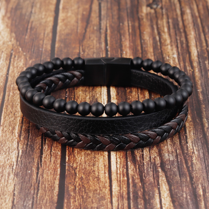 Charm Rope Stainless Steel Magnetic Natural Stone Leather Man Bracelet Beaded Braclet Volcanic Stone bracelet bangles Chain Gift