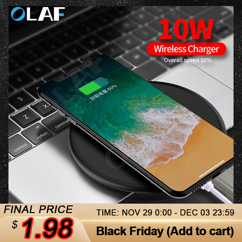 OLAF Wireless Charger Receiver for iPhone Xs Max X 8 Plus 10W Fast Charging Pad for Samsung Note 9 S10 Plus Qi Wireless Charger