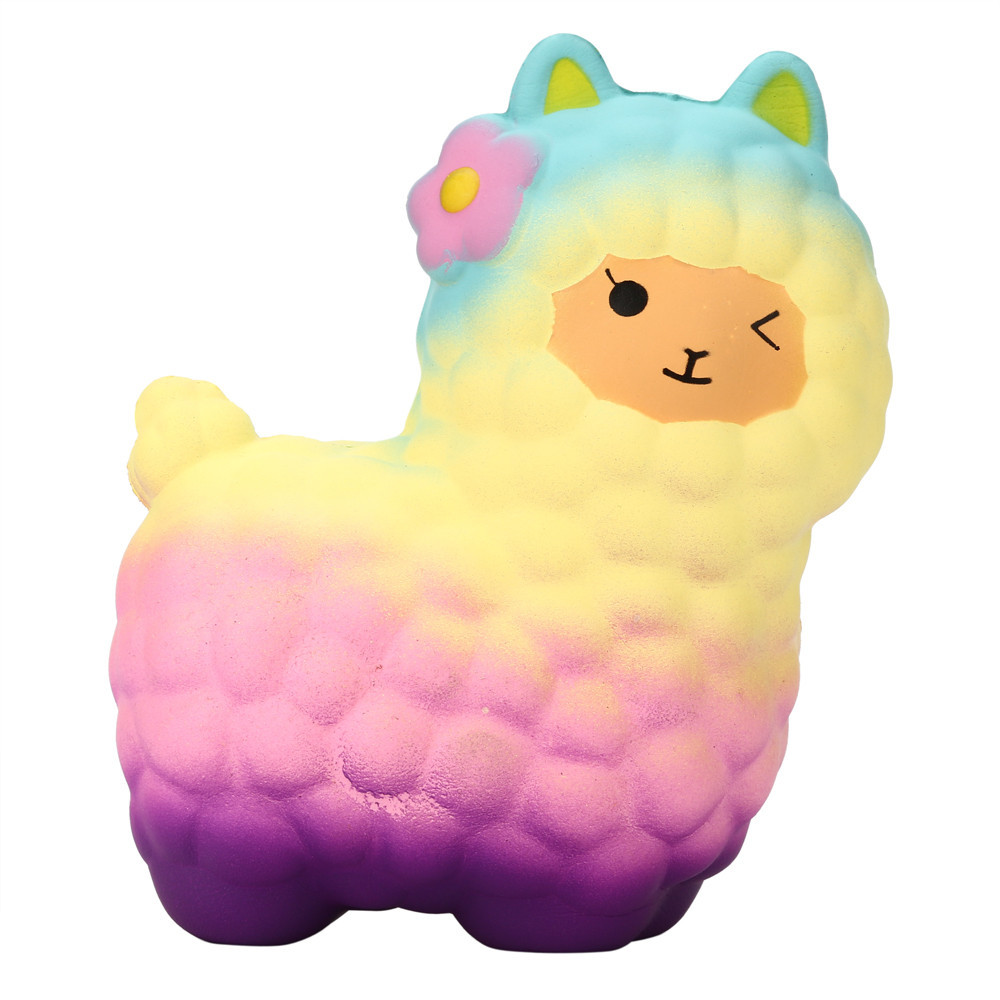 Cartoon Sheep Slow Rising Fun Animal Toys Cute Alpaca Decompression Soft Squeeze Fun Toys Antistress Kids Gift #B