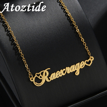 Atoztide 2020 Customized Stainless Steel Frosted Name Necklace With Heart Personalized Letter Gold  Choker Pendant Nameplate Gif