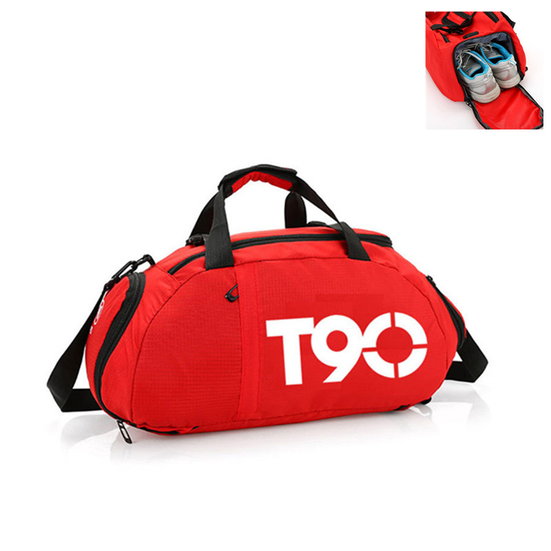 2019 New T90 Men Sport Gym Bag Women Outdoor Gym Fitness Bags Separate Space For Shoes Pouch Rucksack Hide Backpack