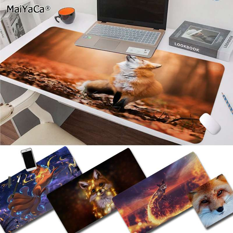 MaiYaCa Cool New Fox In Autumn Leaves Forest Unique Desktop Pad Game Mousepad Free Shipping Large Mouse Pad Keyboards Mat