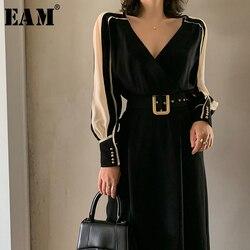 [EAM] femmes noir côté mousseline de soie fendu robe élégante nouveau col en v à manches longues coupe ample mode marée printemps été 2020 1W498