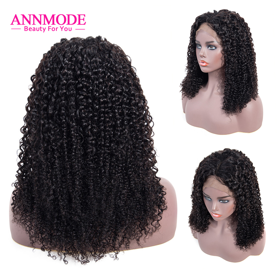 Indian Kinky Curly Wig 13x4 Lace Front Wig Pre Plucked 8-26 Inch Nature Color Non Remy Human Hair Wig Annmode Hair
