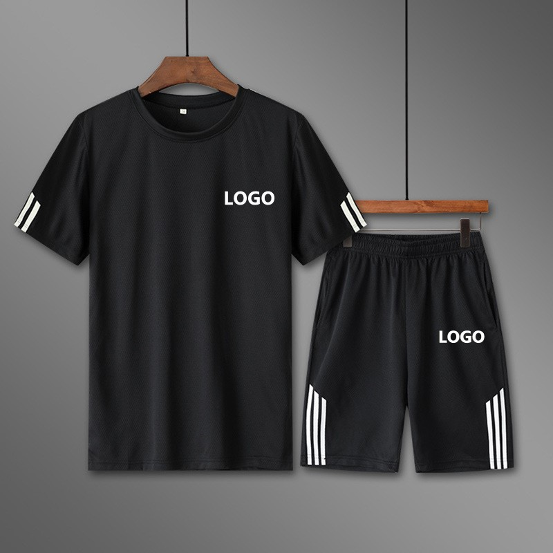 2019 New Style Men'S Wear T-shirt Printed Logo Set Summer MEN'S Short Sleeve Shorts Students Sports Set