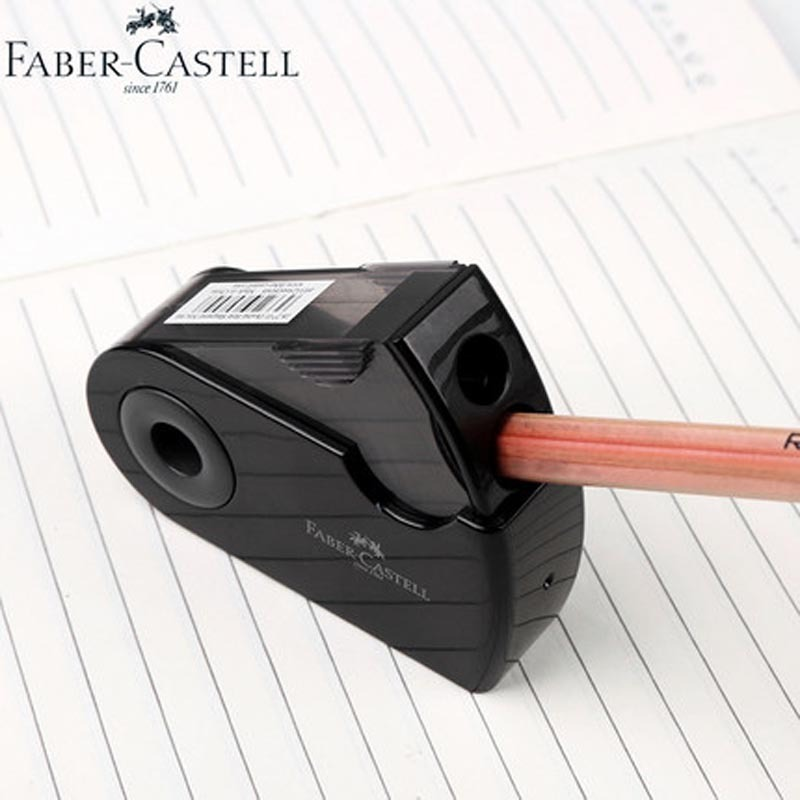 JIANWU FABER-CASTELL Push Pull Double Pencil Sharpener Single Hole Double Hole Multifunctional Office Stationery