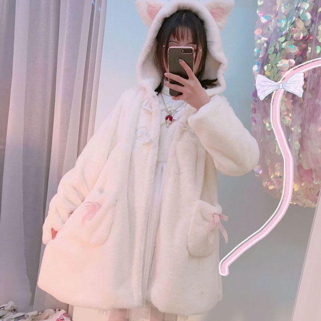 Japanese Sweet Soft Sister Cute Coat Winter Rabbit Ears Hooded Lolita Teddy Coat Kawaii Fleece Warm Plush Cartoon Anime Jackets 1